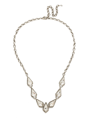 On the Rocks Necklace in Antique Silver-tone Crystal