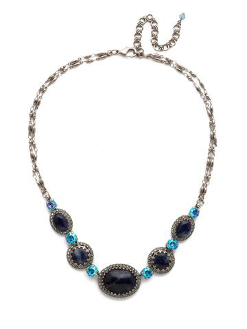 Ballota Necklace in Antique Silver-tone Blue Suede
