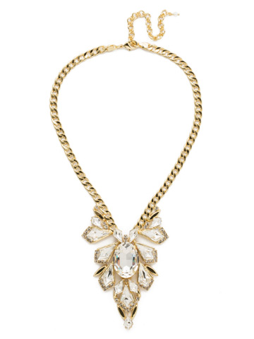 Ice Queen Necklace in Bright Gold-tone Crystal