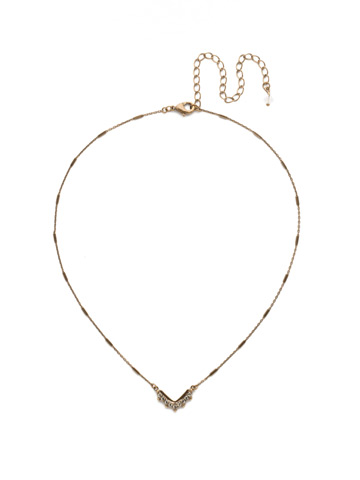 Jagged Chevron Necklace in Antique Gold-tone Crystal