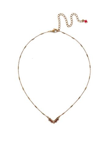 Jagged Chevron Necklace in Antique Gold-tone Go Garnet