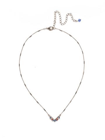 Jagged Chevron Necklace in Antique Silver-tone Orange Crush