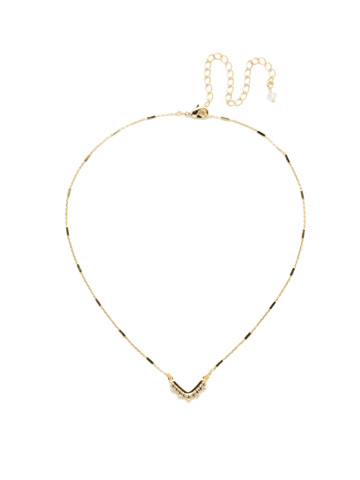 Jagged Chevron Necklace in Bright Gold-tone Crystal