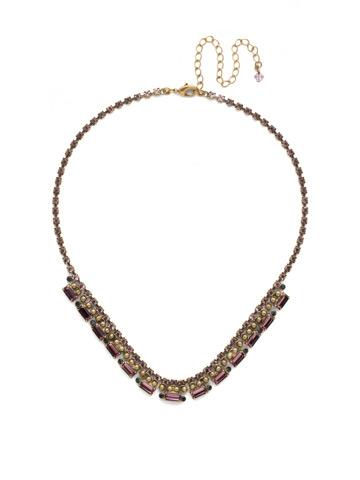 Fescue Necklace in Antique Gold-tone Royal Plum