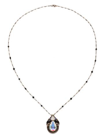 Armeria Necklace in Antique Silver-tone Black Tie