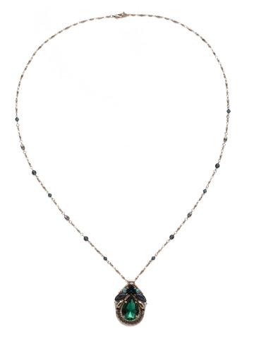 Armeria Necklace in Antique Silver-tone Blue Suede