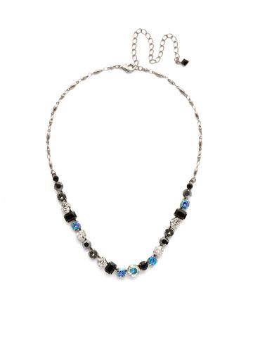 Papaver Classic Line Necklace in Antique Silver-tone Black Tie