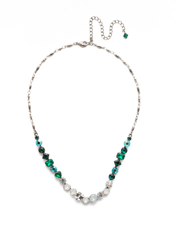 Papaver Classic Line Necklace in Antique Silver-tone Snowy Moss