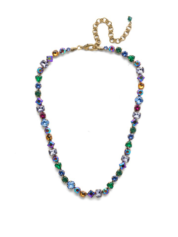 Sedge Necklace in Antique Gold-tone Game of Jewel Tones