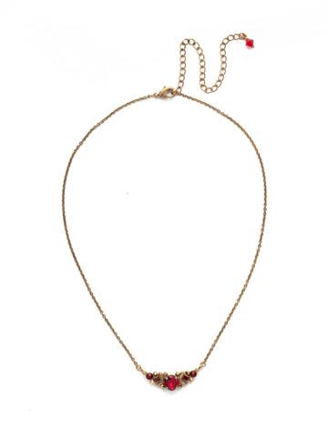 Aralia Delicate Pendant Necklace in Antique Gold-tone Go Garnet