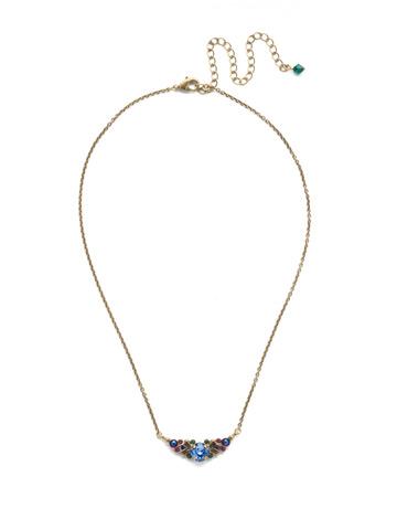 Aralia Delicate Pendant Necklace in Antique Gold-tone Game of Jewel Tones