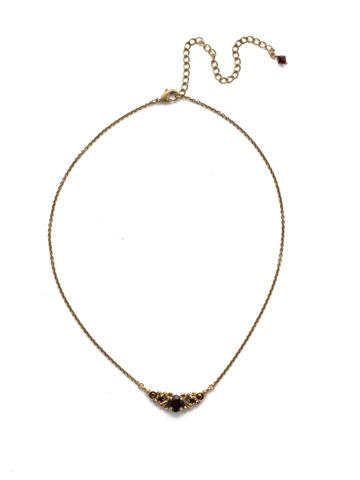 Aralia Delicate Pendant Necklace in Antique Gold-tone Mighty Maroon