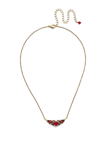 Aralia Delicate Pendant Necklace in Antique Gold-tone Sansa Red