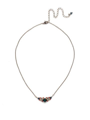 Aralia Delicate Pendant Necklace in Antique Silver-tone Battle Blue