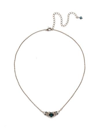 Aralia Delicate Pendant Necklace in Antique Silver-tone Glory Blue