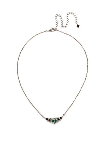 Aralia Delicate Pendant Necklace in Antique Silver-tone Game Day Green