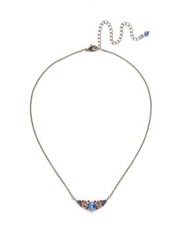 Aralia Delicate Pendant Necklace in Antique Silver-tone Orange Crush
