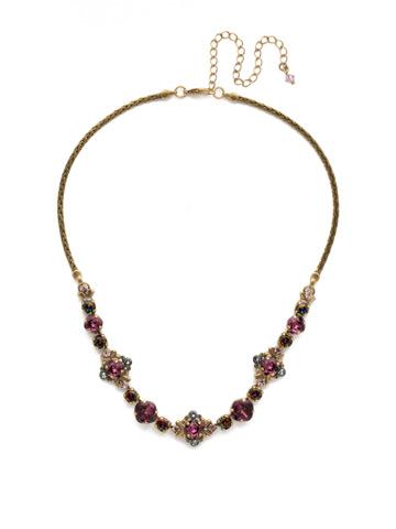 Stonecrop Necklace in Antique Gold-tone Royal Plum