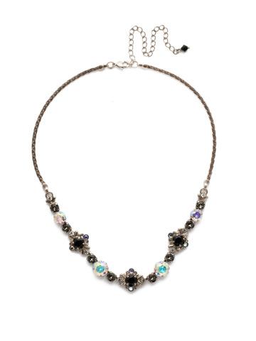 Stonecrop Necklace in Antique Silver-tone Black Tie
