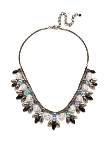 Euphorbia Necklace in Antique Silver-tone Black Tie