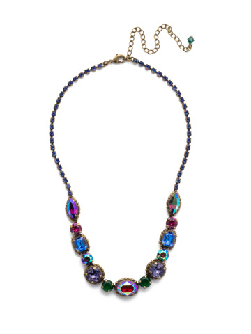 Cardoon Classic Line Necklace in Antique Gold-tone Game of Jewel Tones