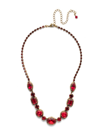 Cardoon Classic Line Necklace in Antique Gold-tone Sansa Red