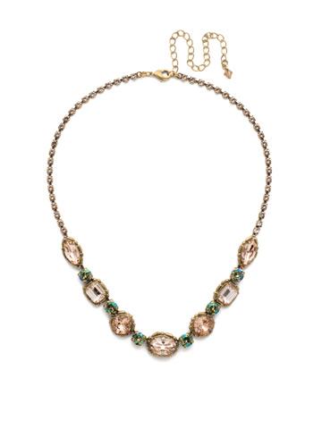 Cardoon Classic Line Necklace in Antique Gold-tone Sandstone