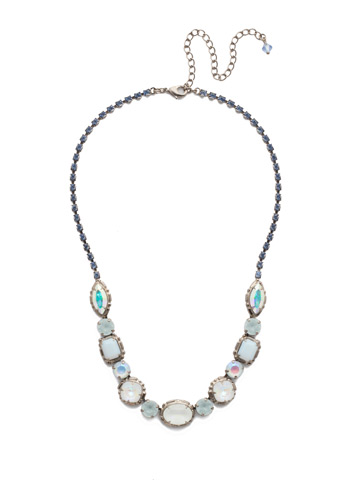 Cardoon Classic Line Necklace in Antique Silver-tone Glacier