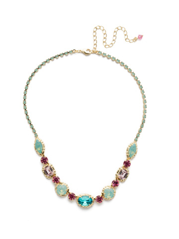 Cardoon Classic Line Necklace in Bright Gold-tone Candy Pop