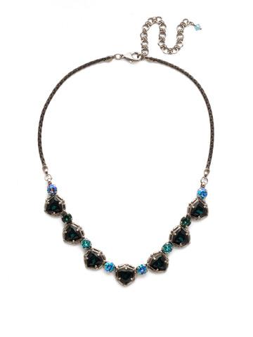 Primula Necklace in Antique Silver-tone Blue Suede
