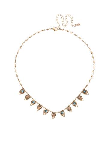 Lavanda Petite Bib Necklace in Antique Gold-tone Driftwood