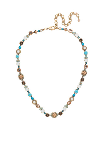 Chiara Line Necklace in Antique Gold-tone Driftwood