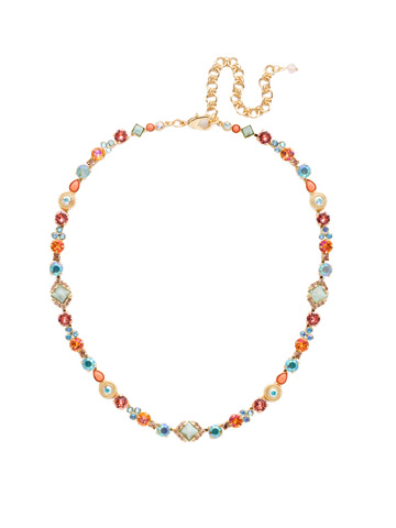 Chiara Line Necklace in Bright Gold-tone Mango Tango
