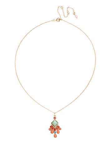 Edda Pendant Necklace in Bright Gold-tone Mango Tango