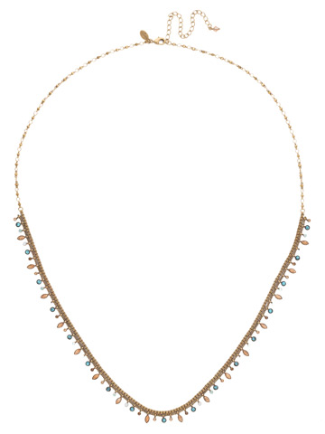 Emillia Long Strand Necklace in Antique Gold-tone Driftwood