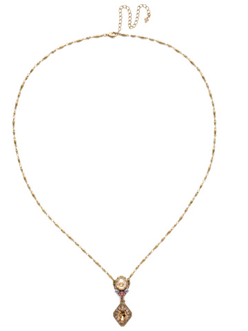 Giulia Pendant Necklace in Antique Gold-tone Beach Comber