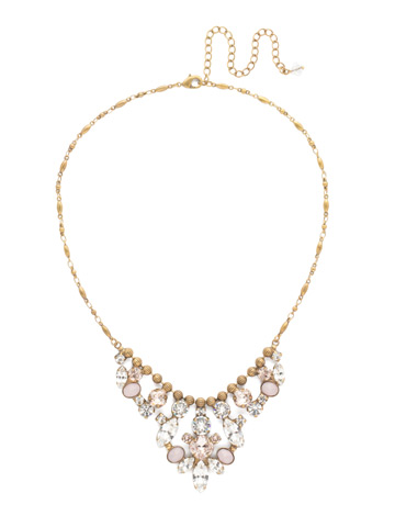 Sicily Statement Necklace in Antique Gold-tone Snow Bunny