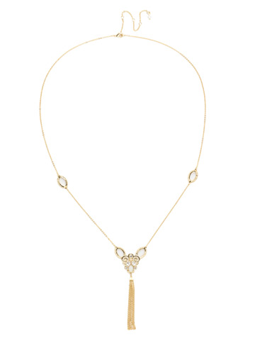Cosette Long Strand Necklace in Bright Gold-tone Polished Pearl