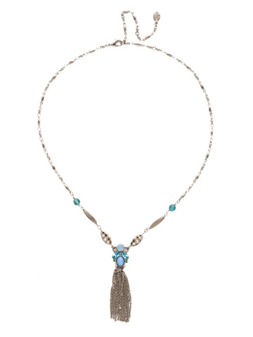 Matelda Long-Stand Necklace in Antique Silver-tone Pastel Prep