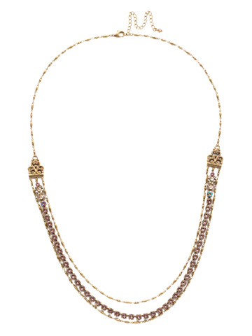 Petronilla Long Strand Necklace in Antique Gold-tone Beach Comber