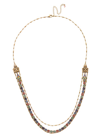 Petronilla Long Strand Necklace in Antique Gold-tone Bohemian Bright