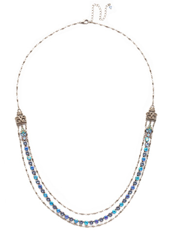 Petronilla Long Strand Necklace in Antique Silver-tone Pastel Prep