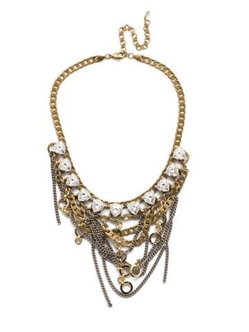 Smythe Statement Bib Necklace in Mixed Metal Crystal
