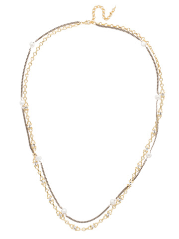 Emery Long Strand Necklace in Mixed Metal Modern Pearl