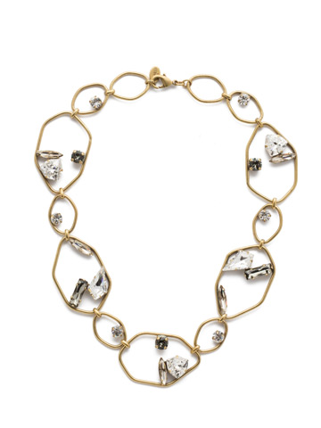 Presley Collar Necklace in Antique Gold-tone Crystal