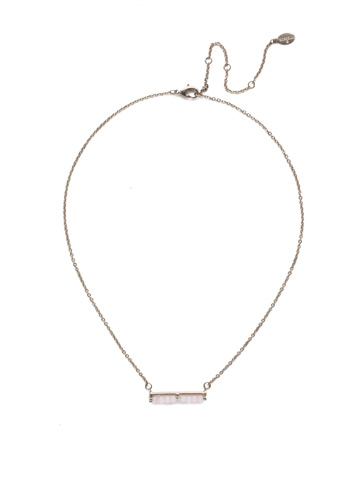 Elena Classic Necklace in Antique Silver-tone Misty Pink