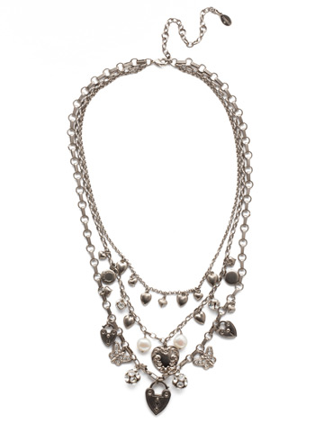 Clarette Necklace in Antique Silver-tone Polished Pearl