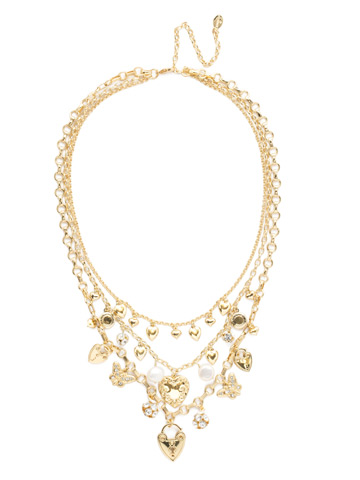 Clarette Necklace in Bright Gold-tone Polished Pearl