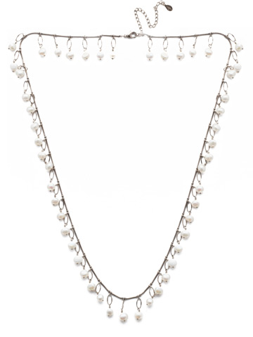 Milana Long Strand Necklace in Antique Silver-tone Polished Pearl
