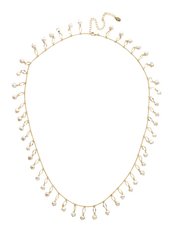 Milana Long Strand Necklace in Bright Gold-tone Polished Pearl